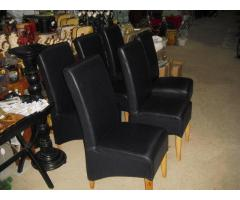 Étkező szék 6 darab sötétkék bőr kárpittal