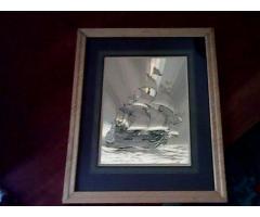 Aranyozott Vitrolás Hajó Festmény Eladó