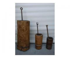 Mák és gabona törő fa mozsarak