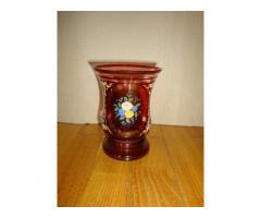 Rubin pácolt biedermeier pohár festett színes virágos