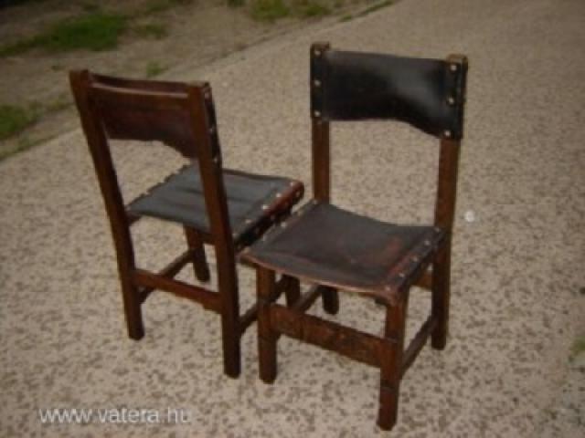 Antik bőrtámlás faragott fa szék 2 db eladó! Tolna AntikPiac