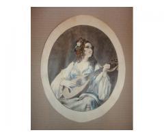 Színezett rajz női portré