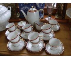 12 személyes, bordó-arany teáskészlet Antiklaedle