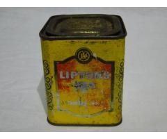 0494 Antik angol LIPTON teás fémdoboz pléh doboz