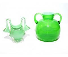 Zöld cseh üveg vázák