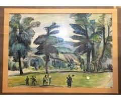 Nyergesi János ( 1895-1982) Parkban, 1937, akvarell