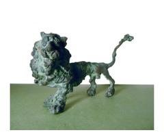 A017  Tóth Ernő: Nagy-farkú oroszlán bronz szobor