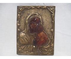 3371 Antik házioltár ikonkép Mária a kis Jézus