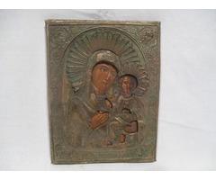 3373 Antik házioltár ikonkép Mária a kis Jézus