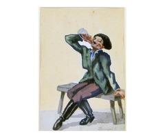 6544 Dinnyés Ferenc : Mulatozó akvarell papír