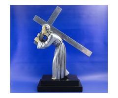 0A003 Antik art deco Krisztus szobor jelzett
