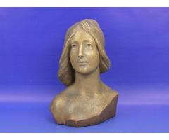 0A846 Antik osztrák szecessziós terrakotta női fej