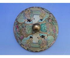 0B408 Óriás antik japán porcelán bonbonier satsuma
