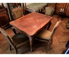 Neobarokk ebédlő asztal, 4 szék