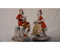 Hollóházi barokk figura párban