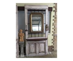 Provence előszobafal, fogas Biedermeier tükörrel.