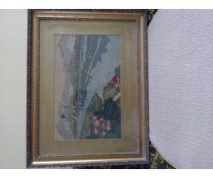 Budapesti gobelin kép, eredeti keretében