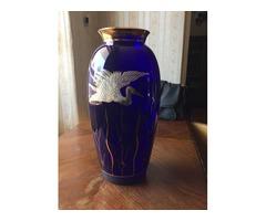 Kék festett üveg váza