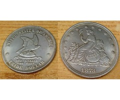 Amerikai Trade Dollar 1873, ezüstözött kópia, gyűjteménybe való darab.