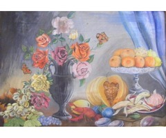Molnár Pál: Gyümölcs és virágcsendélet