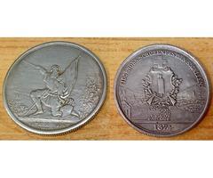 Svájci 5 talléros 1874, ezüstözött kópia