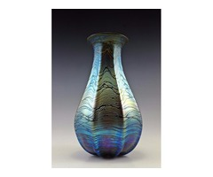 Látványos nagy méretű szecessziós fújt irizáló üveg váza
