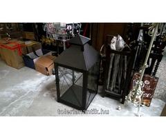 Nagyméretű fekete vas mécseslámpa