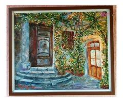 A nagymama virágos terasza, Michele Jung Új-Zélandi festőművész alkotása keretezve.