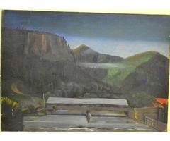 Hegyek között 20. század, olajfestmény