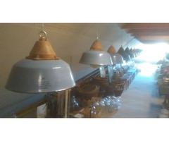 Szarvasi zománcos ipari lámpák üvegbúrával védőráccsal