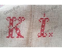 K L monogramos ponyva kék piros csíkkal