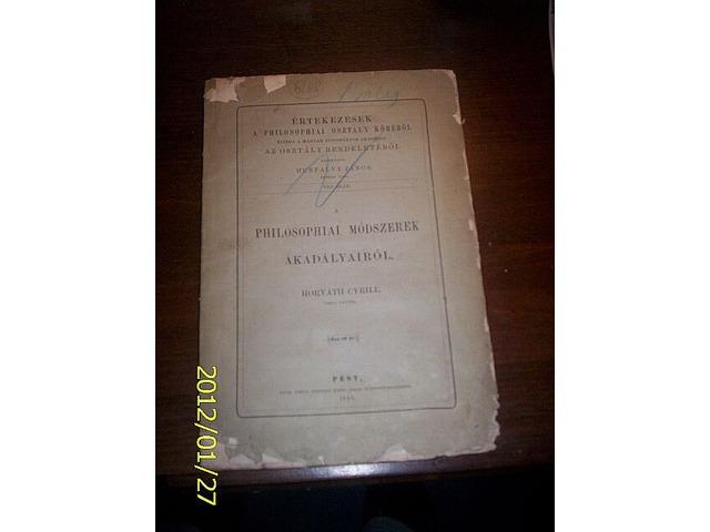 A PHILOSOPHIAI MÓDSZEREK AKADÁLYAIRÓL  1868