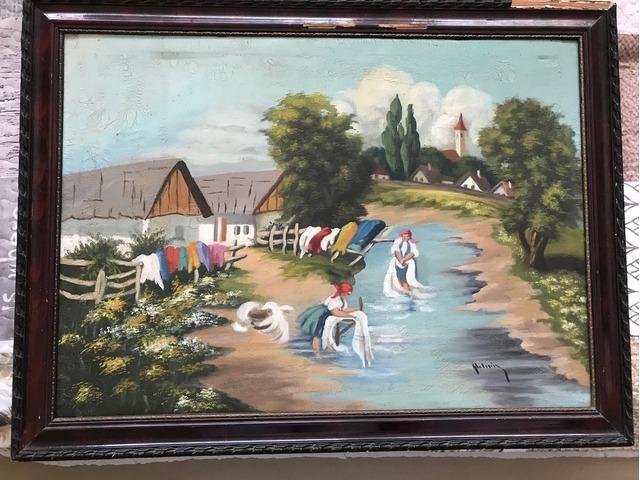 Olajfestmény – antik, hangulatos – Mosás a patakban