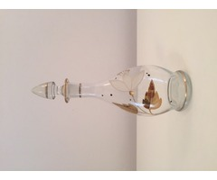 Metszett likőrösüveg arany díszítéssel, üvegdugóval