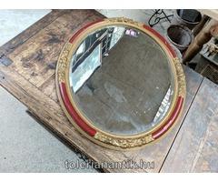 Ovális bordó falitükör fazettázott tükörrel