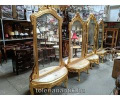 Arany álló tükör márványlapos konzollal többféle
