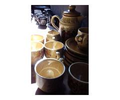 Retro hatású, kézzel festett kerámiakávézó csésze készlet