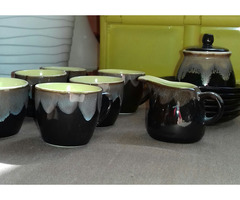 : Retro hatású, kézzel festett kerámiakávézó csésze készlet