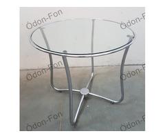 Retro kerek asztal üveglappal
