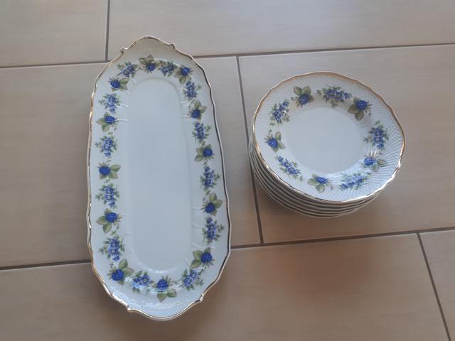 Hollóházi porcelán szendvicskészlet (Szedres 2373)
