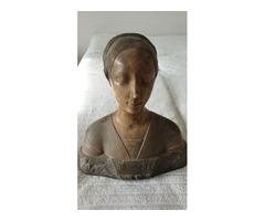 Reneszánsz női mellszobor - Donatello-másolat, bronzírozott