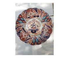 Antik japán Imari porcelán dísztányér - 150 éves