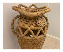 Nagyméretű padlóváza kukoricacsuhé kézzel készített