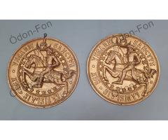 Szent László Rex fali réz medalion 2 db