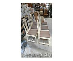 Fehérre antokolt szék barna műbőrkárpittal 6 db