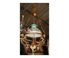 Szines búrás originál majolika lámpa.