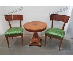 Neo-empire szék pár kerek asztallal