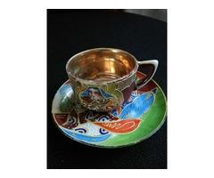 antik japán kézzel festett csésze aljjal