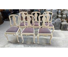 Fehérre antikolt neobarokk szék barna kárpittal 6 db