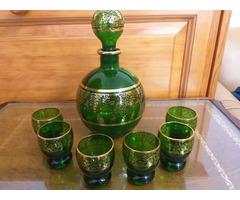 Antik üveg likőrös pohár készlet
